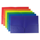 Evelots 2 Pocket Folders-Heavy Duty Plastic-Business Card Slot-Flexible