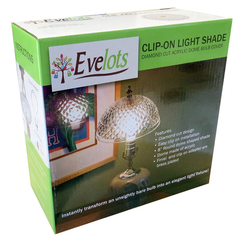 Evelots Ceiling Clip On Light Bulb Shade Lamp Dome Antique Diamond Cut