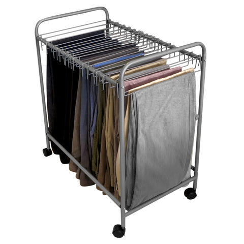 Evelots Pant/Jeans/Trouser Rolling Trolley-Closet Organizer-Come with 18 Hangers