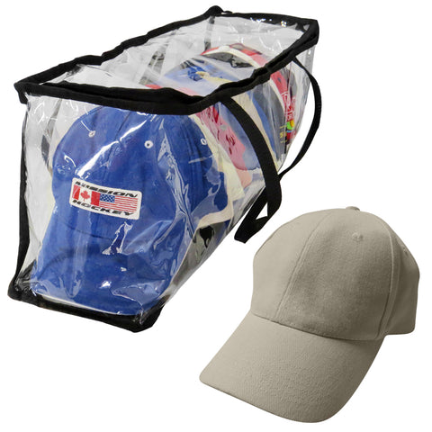 Evelots Sport Hat/Cap Storage Bag-Clear-Baseball-Handles-No Dust/Moisture-15 Hat