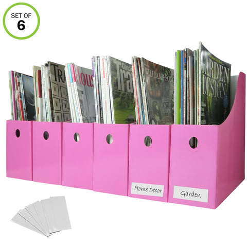 Evelots Magazine File Holder-Organizer-Full 4 Inch Wide-Pink-With Labels