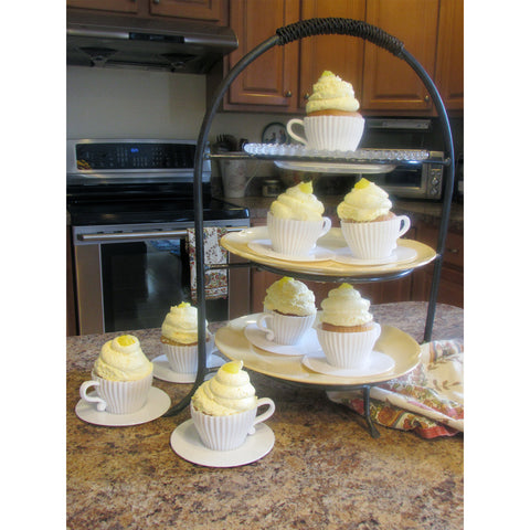 Evelots Baking Cupcake Teacup Set-Oven Safe Silicone-W/Saucers-2 Colors