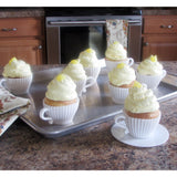 Evelots Baking Cupcake Teacup Set-Oven Safe Silicone-W/Saucers-2 Colors-Set/24