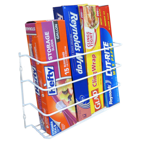 Evelots Wall/Door Mount Kitchen Wrap Organizer Rack-Space Saver, Chrome or White