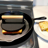 Evelots Grill/Bacon Press-Cast Iron-Heavy Duty-Wood Handle-Burger/Grilled Cheese