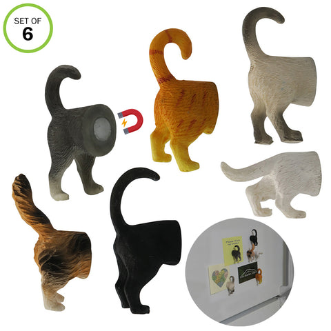 Evelots Refrigerator Magnets-Cat Butts-Photo/Key Holder-6 Popular Breeds