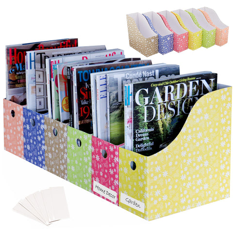 Evelots Magazine File Holder-Organizer-Full 4 Inch Wide-Floral-With Labels