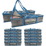Evelots CD/DVD Storage Bag-2 in 1-Hold 24 CDs/8 DVDs Each Bag-Blue Stripe