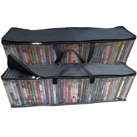 Evelots DVD/BluRay/Video-Storage Bag-NEW MODEL-Clear-Handle-Holds 50 DVD Each
