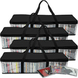 Evelots CD Storage Bag-Zippered-Clear-Handles-Black Top