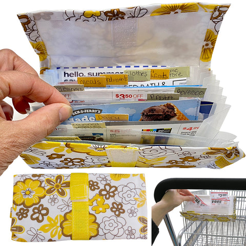 Evelots Grocery-Coupon Organizer-24 Divider-30 Label-Fix to Shopping Cart-Floral