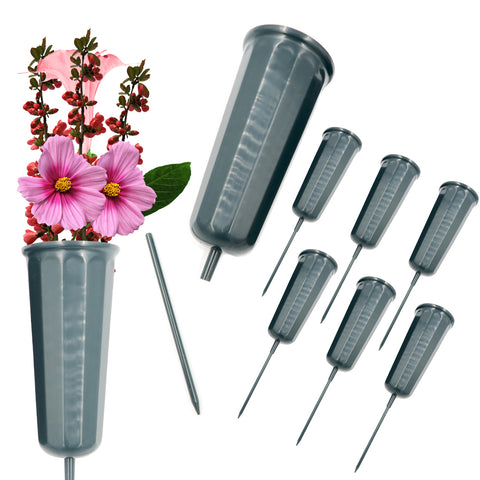 Evelots Cemetery Cone Vases-Sturdy Steel Stakes-10 Inch-Graveside Memorial