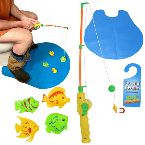 Evelots Toilet Fishing Game-Magnetic-Potty Training-Fishermen Gift-6 Piece Set