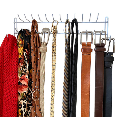Evelots Tie Rack-Belt/Scarf/Necklace Wall Organizer-27 Hooks-Can Hold 100 Items
