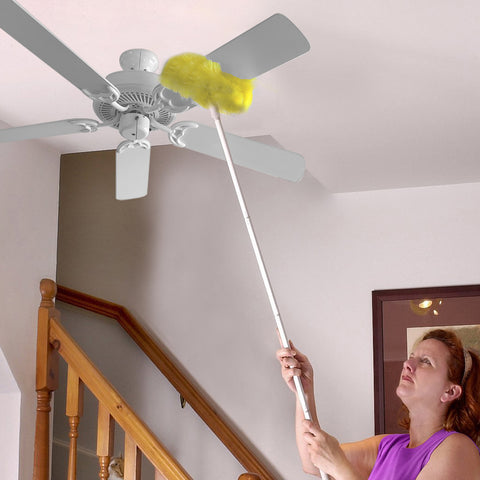 Evelots Ceiling Fan Duster Both Sides, Static Microfiber Brush, Upto 9 Ft. Reach
