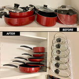 Evelots Pot Lid Storage-Cabinet Door/Wall-Organizer-6 Pot/Pan Covers-No Scratch