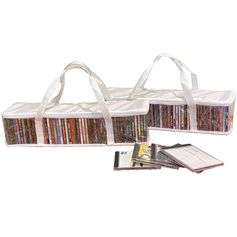 Evelots CD Storage Bag-Zippered-Clear-Handles-Hold 94 CD's Total-White Top-Set/2