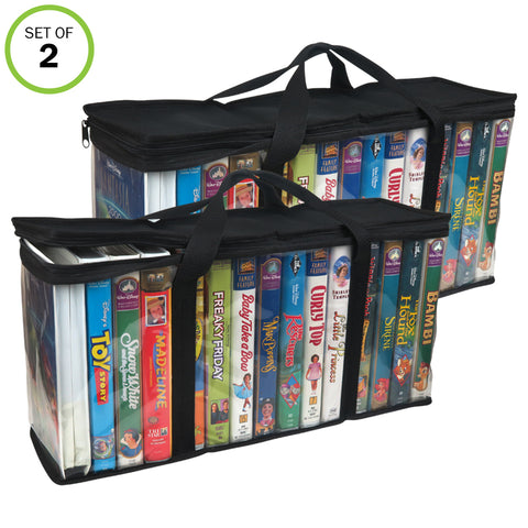 Evelots VHS Storage Bag-Movie Organizer-Video Tape-Handles-Hold 30-No Dust-Set/2