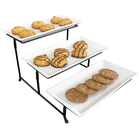 Evelots 3 Tier Large Serving Tray,Rack,Stand-Dessert,Appetizer-Porcelain-Iron