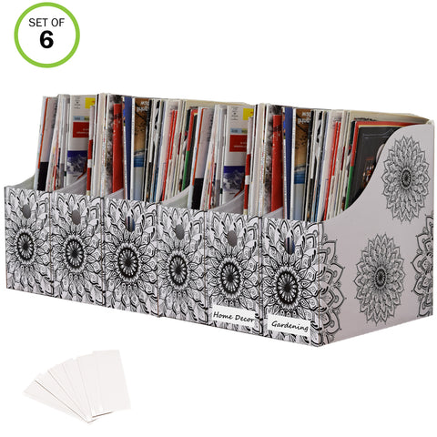 Evelots Magazine File Holder-Organizer-4 Inch Wide-Mandala-With Labels-Set/6