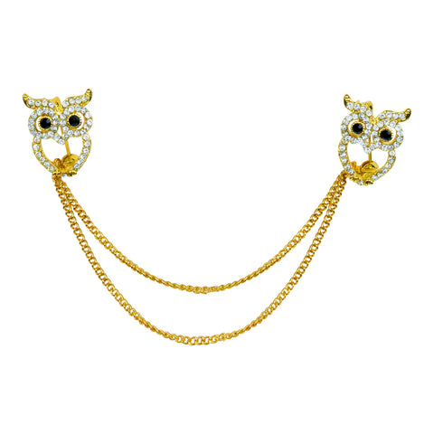 Evelots Owl Sweater Collar Clip Pin-Gold Tone-Cardigan-Shawl-Dress-Blouse-Vest