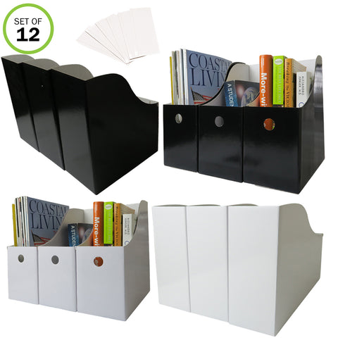 Evelots Magazine File Holder-Organizer-Full 4 Inch Wide-Labels-6 Black/6 White