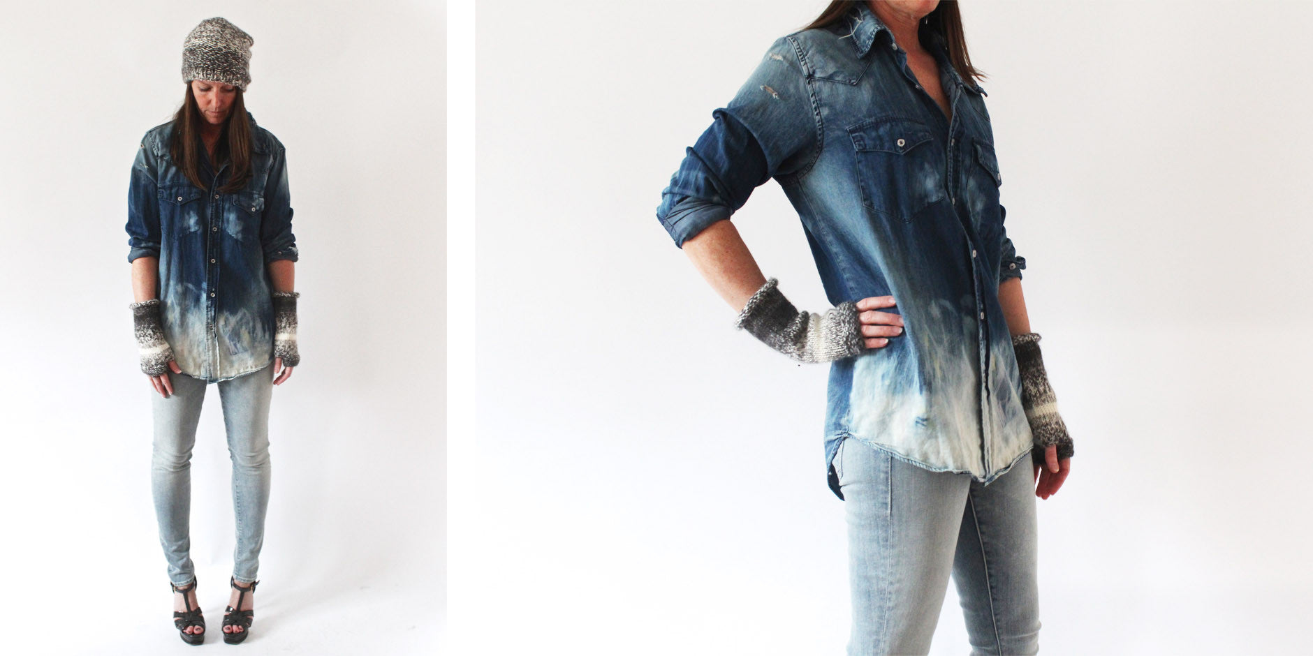 the looker jean - clear as day/nsf destroyed denim shirt/anna kula hat and gloves