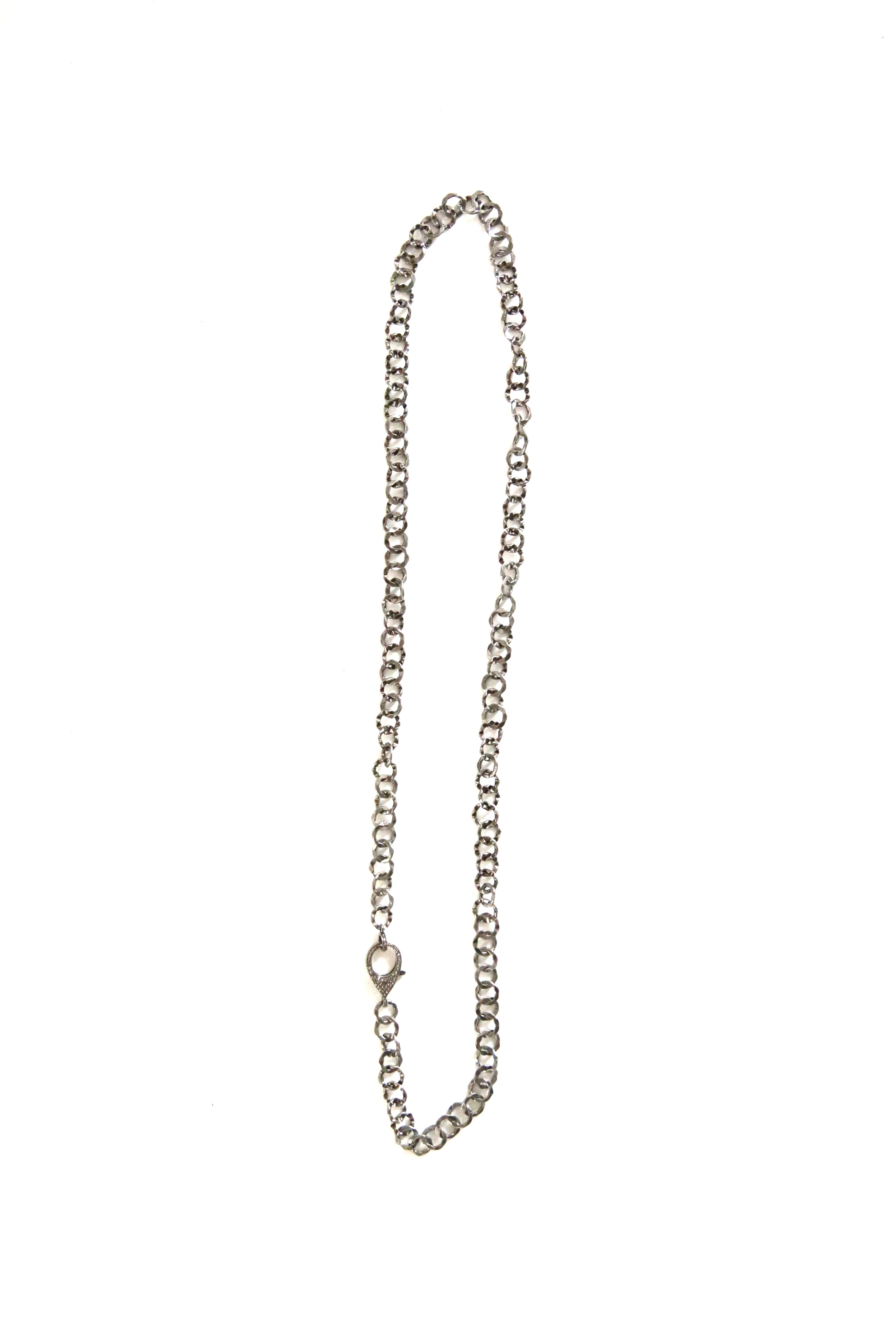 hammered silver chain - 33""