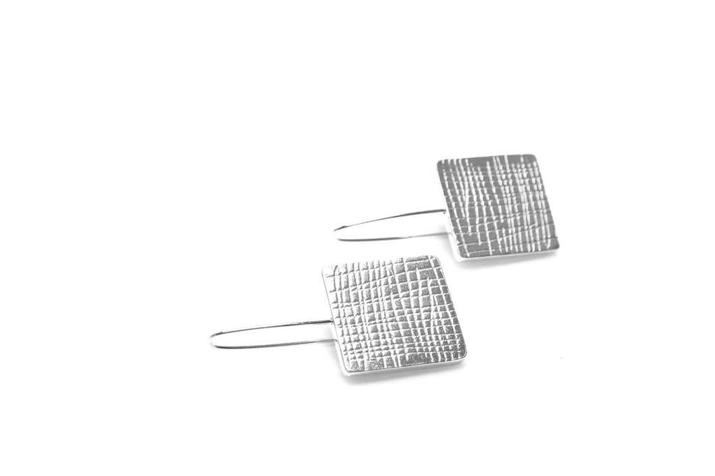 Grid Long Earrings - Silver