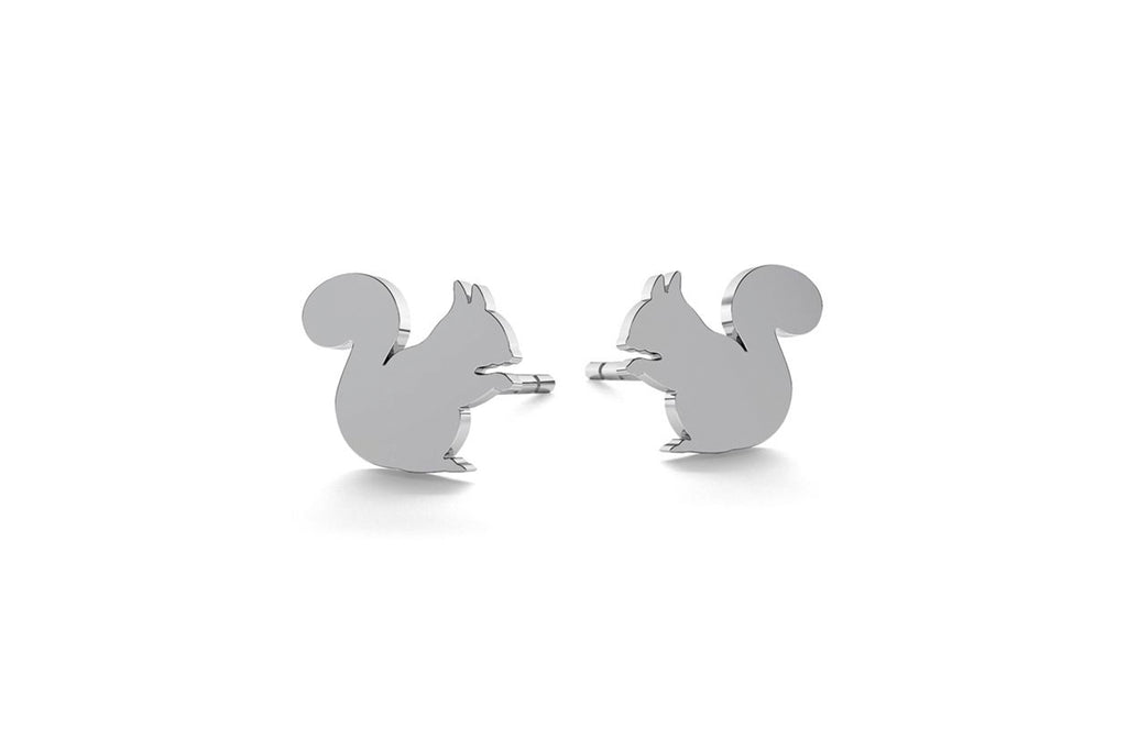 Tiny Squirrel Earrings - Silver