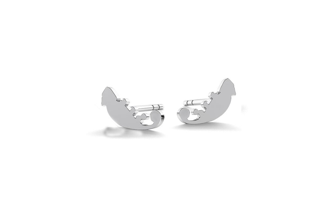 Tiny Chameleon Earrings - Silver