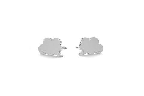Small Cloud Earrings - Silver