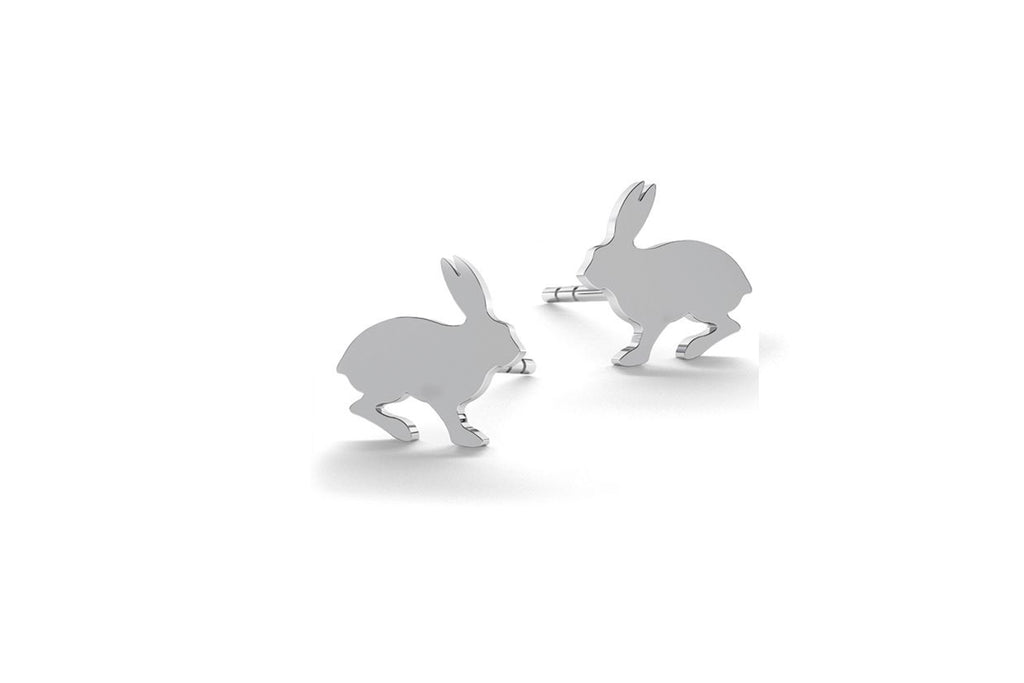 Tiny Rabbit Earrings - Silver