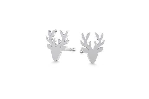 Tiny Deer Earrings - Silver