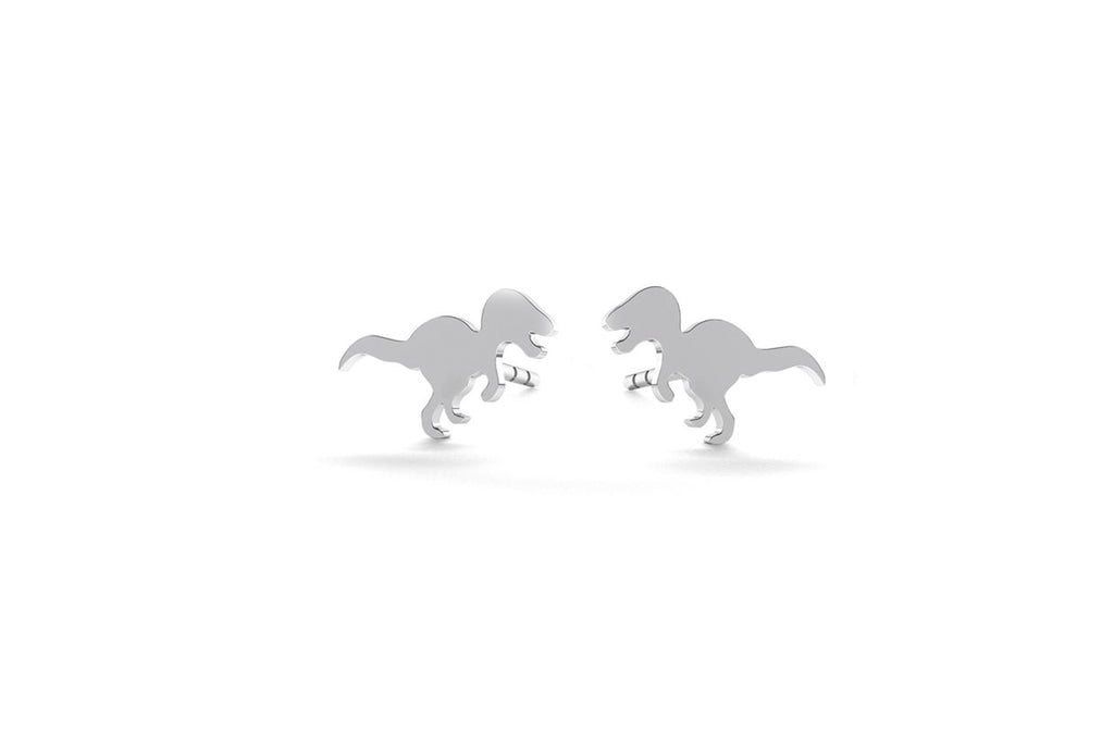 Tiny Dinosaur Earrings - Silver
