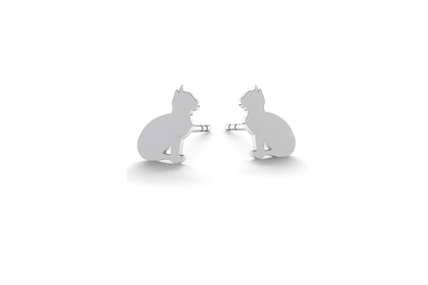 Tiny Cat Earrings - Silver
