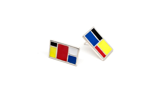 Mondrian Stud Earrings - Silver