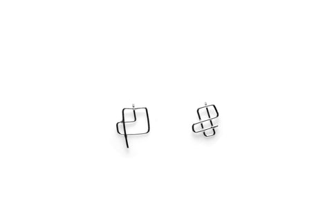 Mondrian Earrings - Silver