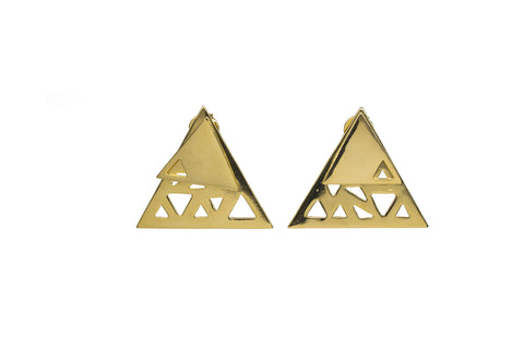 Triangular Double Earrings - Gold Plated
