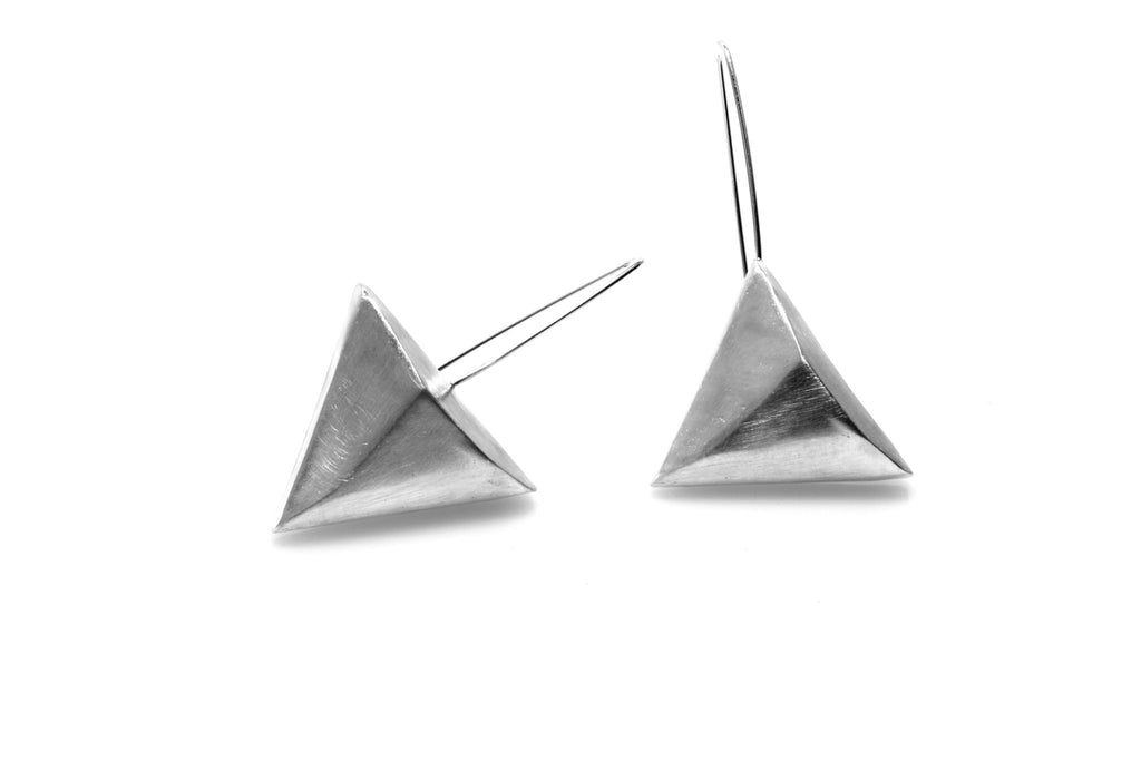 Pyramid Earrings - Silver