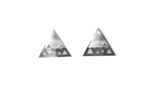 Triangular Double Earrings - Silver