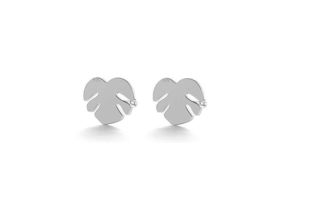 Small Leaf Earrings - Silver