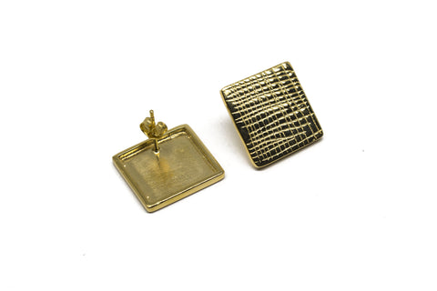 Grid Earrings - Gold plated