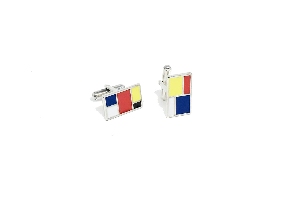 Mondrian Color Cufflinks - Silver