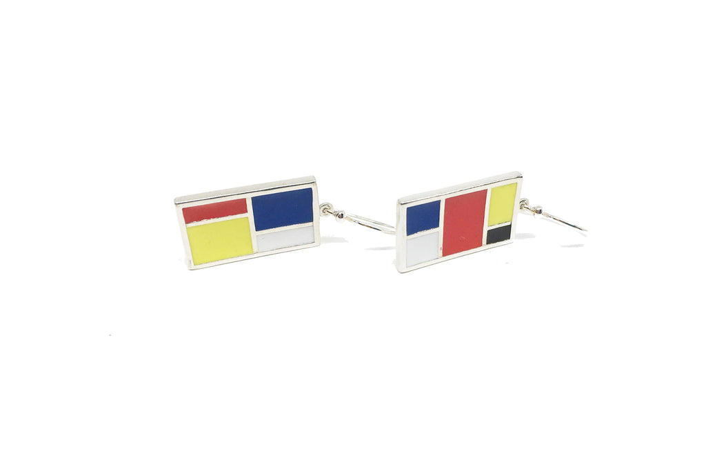 Mondrian Hanging Earrings - Silver