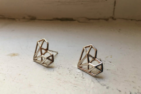 Origami Heart Earrings - Silver