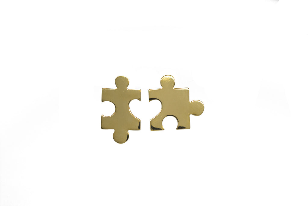 Puzzle Earrings - Gold plated