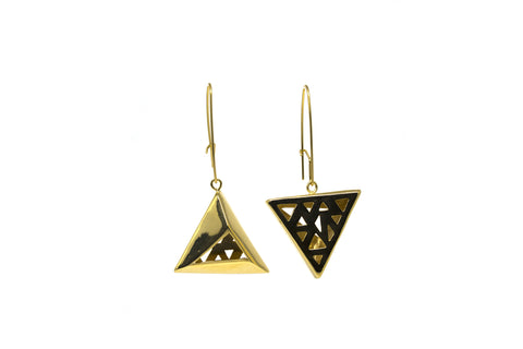 Pyramid Earrings - Gold plated