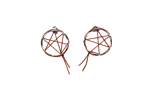Sew Dreamcatcher Earrings - Silver