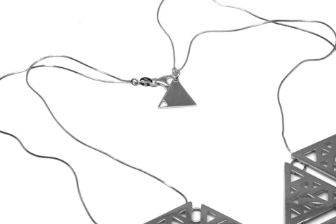 Triangular 7x Necklace - Silver